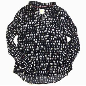 Maeve by Anthropologie Parrot Navy Button Down